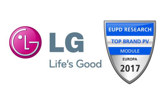 A LG il premio Top Brand PV Europe 2017 per la gestione del marchio